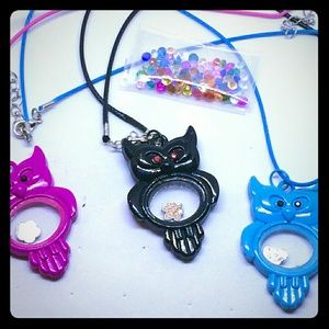 3 Floating Charm Owl Pendant Necklaces W/Crystals